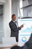 Ung affärsman som förklarar grafen, medan ge presentation i bräderum royaltyfri bild