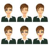 Ung affärskvinna med olika ansiktsuttryck Royaltyfri Fotografi