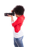 Ung afrikansk amerikanfotograf som tar en bild - svart pe Royaltyfria Foton