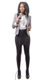 Ung afrikansk amerikanjournalist med en mikrofon Royaltyfria Bilder