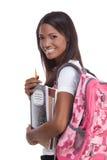 Ung afrikansk amerikankvinna för högskolestudent Arkivbild
