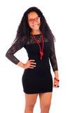 Ung afrikansk amerikankvinna med långt hår Royaltyfri Bild