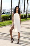 Ung afrikansk amerikankvinna som går, utomhus Marina med palmträd arkivbilder