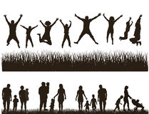 Ung aktiv familj. stock illustrationer