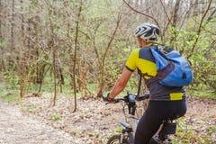 Ung aktiv man som cyklar i vårskog Arkivfoton