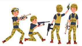 Ung armésoldat Man Vector poserar klar strid Kamouflagelikformig Kriga man Plan militär tecknad filmillustration stock illustrationer
