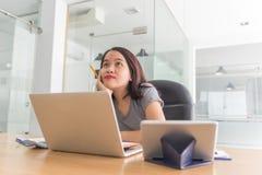 Ung asiatisk affärsanställd som tänker om nytt idéer och affärsplan arkivbild