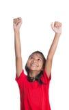 Ung asiatisk flicka som lyfter händer II Fotografering för Bildbyråer