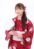 Ung asiatisk kvinna i kimono Arkivbilder