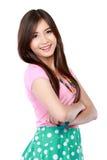 Ung asiatisk kvinna i tillfälligt le Royaltyfria Bilder