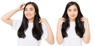 Ung asiatisk kvinna med sunt rent skinande hår för brunett som isoleras på vit bakgrund Lång frisyr för flicka kopiera avstånd arkivfoton