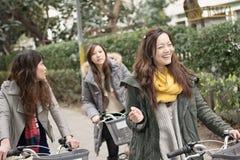 Ung asiatisk kvinnaridningcykel med vänner arkivbild