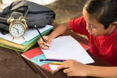 Ung asiatisk pojke som drar en äppleform arkivfoton
