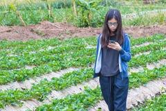 Ung asiatisk tonåring som använder mobiltelefonteknologi i jordgubbe Fotografering för Bildbyråer