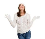 Ung attraktiv kvinna som isoleras på vit backgroun Arkivfoto