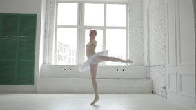 Ung ballerina i balettgrupp stock video