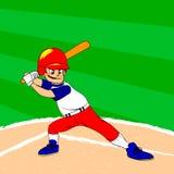 Ung basebollspelare med ett slagträ på hans skuldra som är klar för att slå till Sparad baseball Arkivfoton