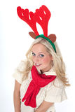 Ung blond kvinna med horns Royaltyfria Foton