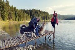 Ung blond kvinna på en motorcykel på en pir på en sjö i berget med två hundkapplöpning arkivbild