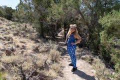 Ung blond kvinnafotvandrare som bär fånig amerikansk patriotisk clothin royaltyfria foton