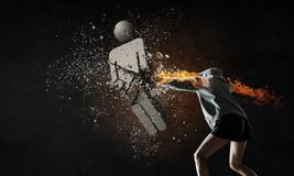 Ung boxarekvinna Blandat massmedia Royaltyfri Foto