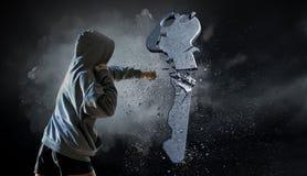 Ung boxarekvinna Blandat massmedia Fotografering för Bildbyråer