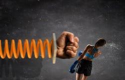 Ung boxarekvinna Blandat massmedia Royaltyfria Foton