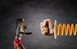 Ung boxarekvinna Blandat massmedia Blandat massmedia Royaltyfria Foton