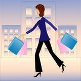 Ung brådska för affärskvinna med köphemmet Royaltyfria Foton