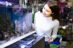 Ung brunettflicka som väljer akvariefisken Arkivfoto