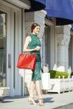 Ung brunettkvinna med några shoppingpåsar fotografering för bildbyråer