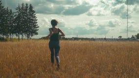 Ung brunettkvinna som lyckligt kör längs guld- fält i ljus solig dag arkivfilmer