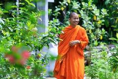 Ung buddistisk munk Smiling Royaltyfri Fotografi