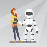 Ung caucasian kvinnahandshaking med roboten stock illustrationer