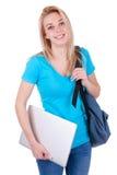 Ung caucasian studentflicka som rymmer en bärbar dator - Caucasian folk Royaltyfria Bilder