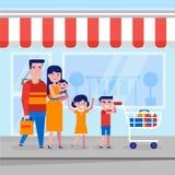 Ung caucasian vit familj med att shoppa för ungar vektor illustrationer