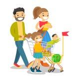 Ung caucasian vit familj med att shoppa för ungar stock illustrationer