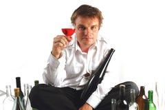 Ung chef och wine Arkivfoto