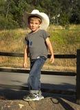 Ung cowboy Ready To Ride Royaltyfri Fotografi