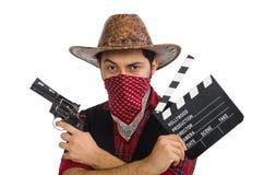 Ung cowboy som isoleras på viten Royaltyfri Foto