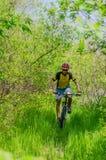 Ung cyklist som bär en hjälm som rider till och med skogen, ett b Arkivfoton