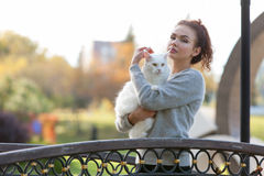 Ung dam med den Maine Coon katten Arkivfoto