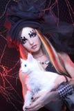 Ung dam med katten Arkivfoto