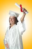 Ung deltagare med diplomet Royaltyfri Bild