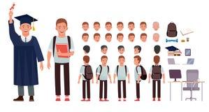 Ung deltagare Teckenskapelseuppsättning Full längd, olika sikter, sinnesrörelser, gester som isoleras mot vit stock illustrationer