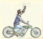 Ung dude på en motorcykel stock illustrationer