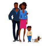 Ung familj med den nätta barnang-hunden Arkivbilder