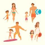 Ung familj med ungar Royaltyfri Foto