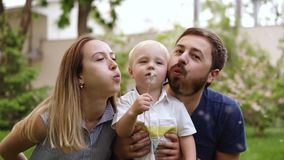 Ung familj som spelar i parkera Avla, fostra och behandla som ett barn den lyckliga pojken som ner tillsammans sitts nära blomman stock video