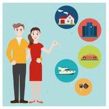 Ung familjhåll en nyckel- köpande ett hem, bil, yacht royaltyfri illustrationer